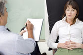 Psychiatrist with patient — Stock Photo