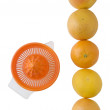 Stock Photo: Squeezer and oranges