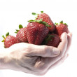 Stock Photo: A handful of strawberries