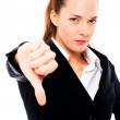 Severe businesswoman with thumb down — Stock Photo #4993525