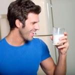Man drinking milk — Stock Photo