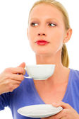 Portrait of a young caucasian woman drinking a cup of tea — Stock Photo
