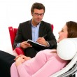 Woman by the psychologist — Stock Photo