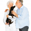 Elderly couple with a dachshund — Stock Photo #5006069