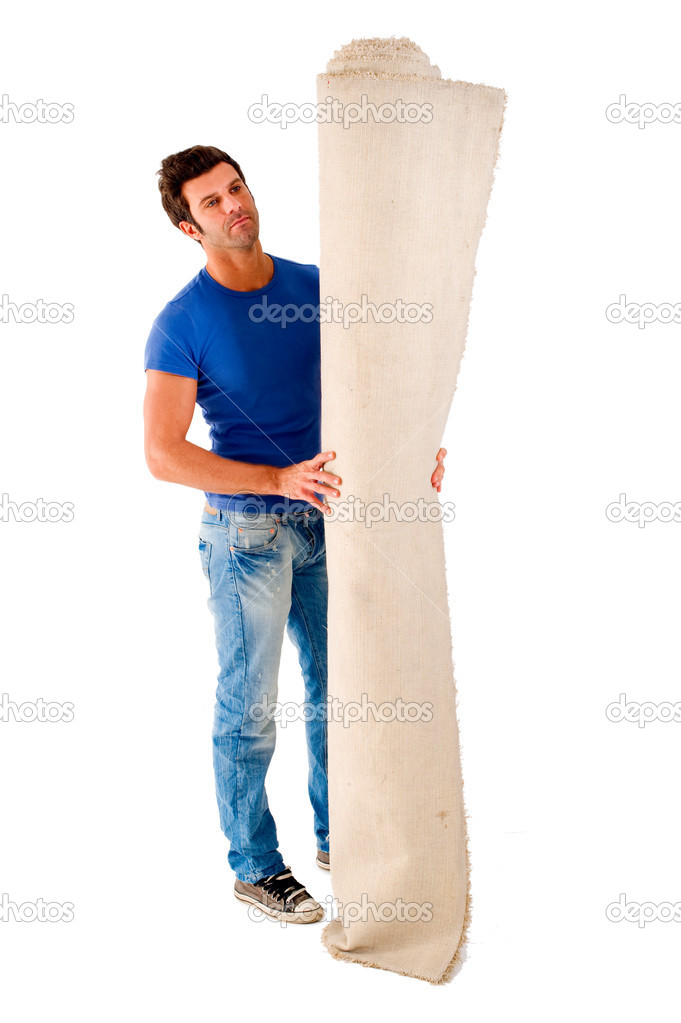 Man wit a carpet in a white background — Stock Photo #5000029