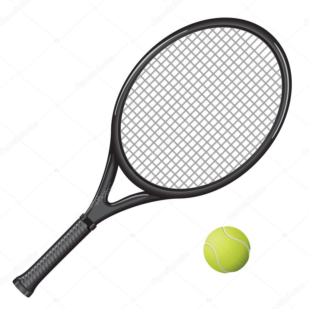 Isolated image of a tennis racket and ball. Vector illustration. — Stock Vector #5022362