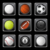 Sports balls icons — Stock Vector