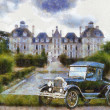 Stock Photo: Vintage cars (oil painting)