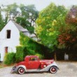 Vintage cars (oil painting) — Stock Photo