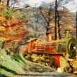 Orange Train through forest (oil painting) — Stock Photo #4523611