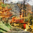 Orange Train through forest (oil painting) — Stock Photo