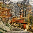 Orange Train through forest (oil painting) — Stock Photo #4523724