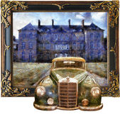 Vintage cars (3D oil painting) — Stock Photo
