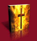 3D Burning Cross Book / Box (Red) — Foto Stock