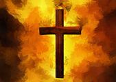 Flaming Cross Christian Art (Vector) — Stock Vector