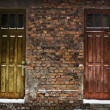Two old wooden doors in brick wall — Stock Photo #4370596