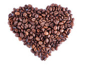 Heart made out of coffee beans — Stockfoto