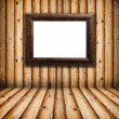 Vintage Frame in Empty Wooden Room — Stock Photo