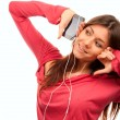 Pretty Girl Listening Music in headphones — Stock Photo #4749050