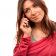 Woman talking on the new cell phone — Stock Photo