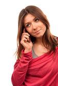 Woman talking on the new cell phone — ストック写真