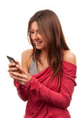 Woman reading, typing and sending SMS on mobile cellphone — Stock Photo