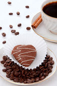 Espresso coffee with cookie — Stock Photo