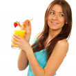 Healthy lifestyle brunette woman drink orange juice cocktail — Stock Photo