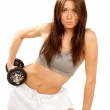Fiitness woman with athletic body lifting weights dumbbells — Stock Photo #4880191