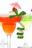 Strawberry, lime, apple Margaritas cocktails composition — Stock Photo