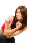 Fitness woman instructor with weights dumbbells — Stock Photo