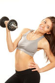 Fitness woman workout weightlifting dumbbells — Stock Photo
