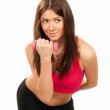 Fitness woman instructor workout dumbbells in gym — Stock Photo #5011044