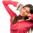 Pretty Girl Listening Music in headphones — Stock Photo #5036022
