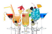 Tropical Cocktails garnished composition — Stock Photo