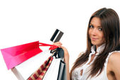 Woman with shopping bags, credit gift card — Stock Photo