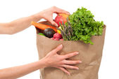 Hands holding a shopping paper bag full of groceries — Stock Photo