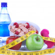 Stock Photo: Diet weight loss, workout, measure healthy food