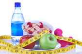 Diet weight loss, workout, measure healthy food — Stock Photo