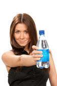 Girl hold bottle of pure drinking water — Stock Photo