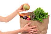 Hand holding bag full of fresh food items — Stock Photo