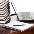 Work place laptop, pen, notebook on table — Stock Photo #5267883
