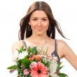 Stock Photo: Woman with beautiful flowers roses bouquet