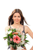 Woman with beautiful flowers roses bouquet — Stock Photo