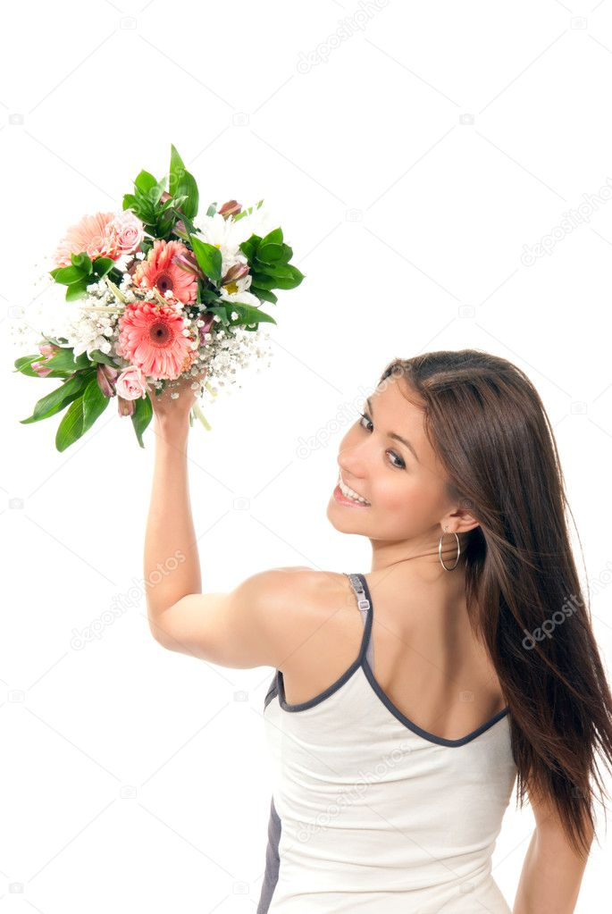 Woman hold and throw away beautiful flowers roses wedding bouquet and various shopping bags on the wrist on a white background.  — Stock Photo #5293823