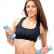 Fitness woman on diet workout dumbbells — Stock Photo