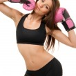Beautiful boxing woman in pink gloves — Stock Photo