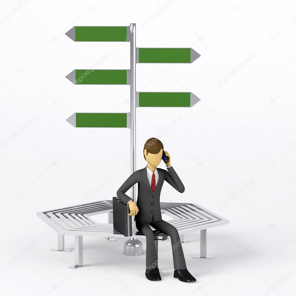 3d Businessman posing in front of a blank directory sign. — Stock Photo #4359993