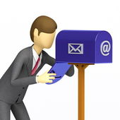 Businessman checking his mailbox — Stock Photo