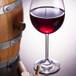 Stock Photo: Delicious red wine in wooden barrels.